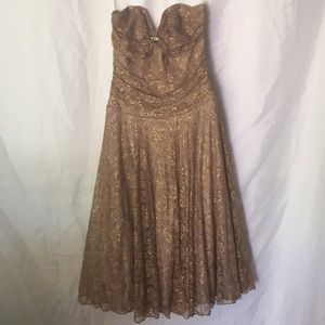 Gold lace strapless party dress